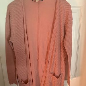 Waffle knit dusty pink cardigan